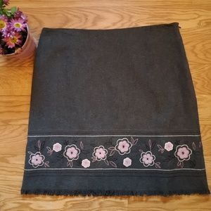 Frayed Floral Wool Skirt- Dressbarn EUC